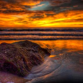 alone by Mohamad Sa'at Haji Mokim - Nature Up Close Rock & Stone ( water, nature, sunset, sea, rock )