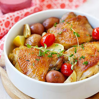 Lemon-Garlic Chicken and Potatoes.