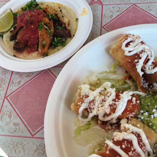 Al pastor taco and carne flautas, Pinches Tacos