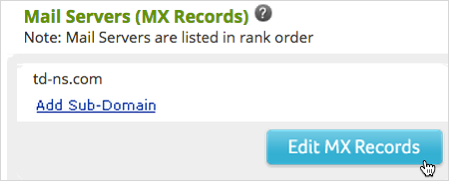 Edit MX Records button