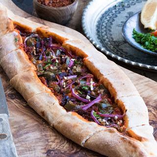 Harissa Flatbread With Olives and Jalapeño [Vegan]