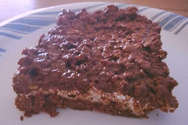 Chocolate Peanut Butter Rice Krispies Brownie Bomb