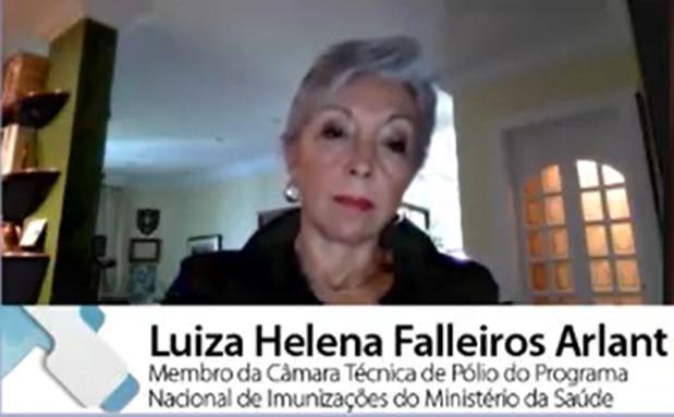"""""""Se nossas crianças tiverem uma cobertura superior a 95% pode entrar o vírus que for, essa criança estará protegida"""", afirmou Luiza Helena Falleiros Arlant. (Fonte: Summit Saúde Brasil 2020/Reprodução)"""