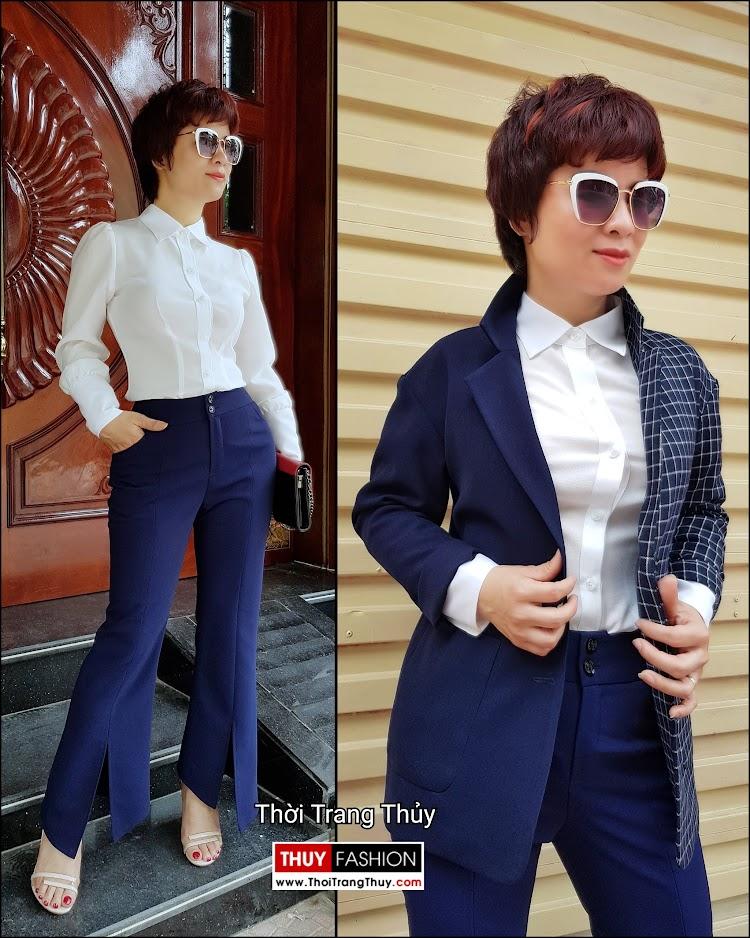 Áo sơ mi nữ và quần ống vẩy xẻ tà mặc tới công sở thời trang thủy ở sài gòn