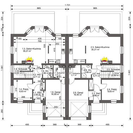 Rzut projektu domu w zabudowie bliźniaczej