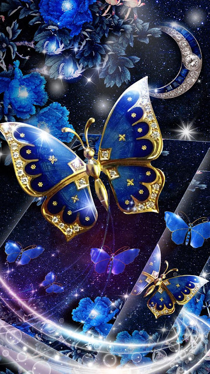 Blue Butterfly Glitter Live 3d Wallpaper Theme Hd Android