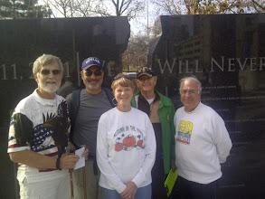 Photo: 9/11 Monument- John Felton, Jim Blessing, Jackie Felton, Clarence Wright, & Don Vartanian