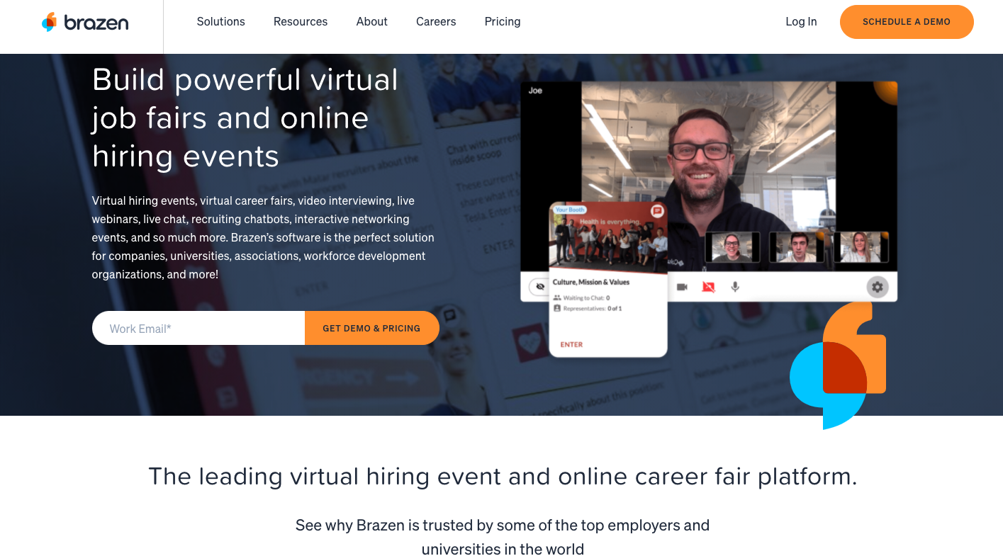 Best video interviewing software for HR managers and recruiters. Brazen - a complete virtual event solution