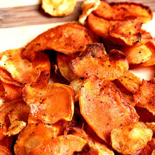 Baked Sweet Potato and Parsnip Chips.
