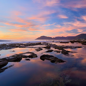 Reflections to ones soul by Juan Wernecke - Landscapes Waterscapes ( clouds, orange, juan wernecke, waterscape, south africa, reflections, rock, beach, seascape, landscape, dusk, cape town, dawn, blue, sunset, brown, sunrise, western cape )