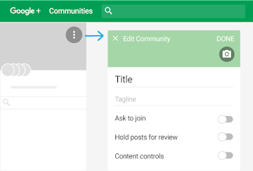Follow steps to edit community details, such as title, tagline, and settings