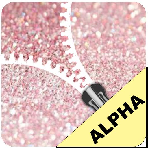 Rose Gold Glitter Zip Locker Alpha  - zipper theme