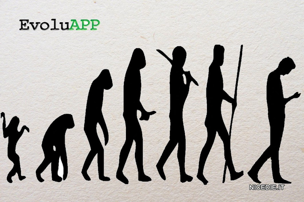 la normale fot dell'evoluzione dell'uomo dalla scimmia all'uomo eretto, aggiugiamo alla fine un uomo curvo sul cellulare