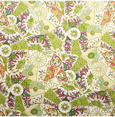 Imari Inredningstyg - grön/rosa