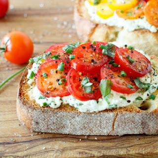 Fresh Tomato and Herbed Ricotta Bruschetta.