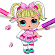 Download Cute Dolls lol Glitter Coloring Book