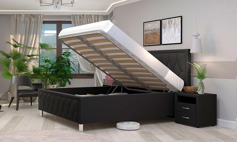 Кровать с подъемным механизмом. Модель кровати декорирована тканью в тон окружающей обстановке