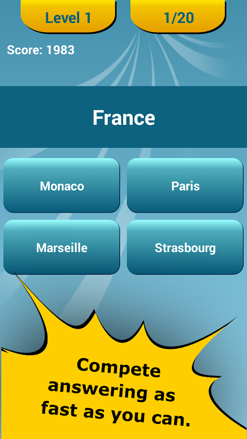 Countries Capitals Quiz- screenshot