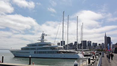 Photo: Larry Ellison's Musashi and sailing superyachts anchoring at the America's Cup village.