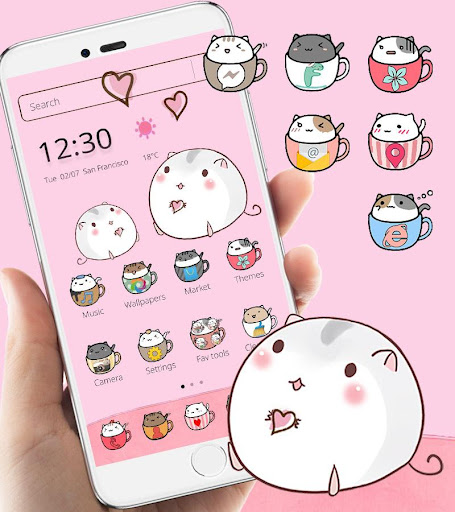 Cute Cup Cat Theme Kitty Wallpaper & icon pack 1.1.3 screenshots 1