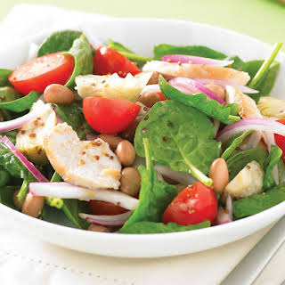 Spinach Salad with Mustard Chicken and Artichokes.