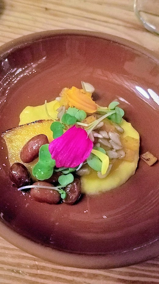 Flavors of Resilience: Indigenous Dinner at Han Oak on October 3, 2017 with Chef Brian Yazzie and Chef M. Karlos Baca, Lower Salmon River Squash Terrine with Confit Nez Pearce Heirloom Bean, Chamisa, Sweet Corn Puree paired with Atole corn drink