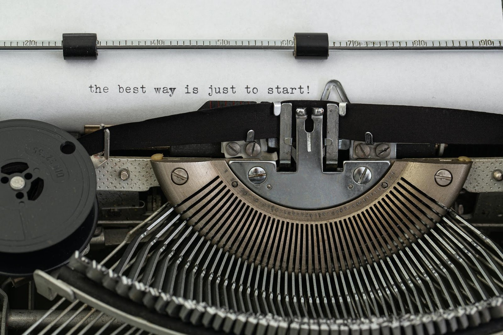 """A typewriter with the words """"the best way is just to start"""" written on paper."""