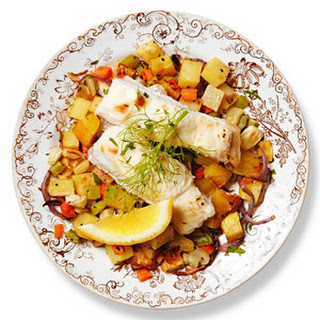 Halibut With Roasted Potatoes and Fennel