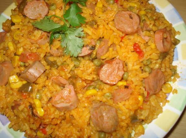 Cuban Yellow Rice & Vienna Sausages, Arroz Amarillo Con Salchichas Recipe