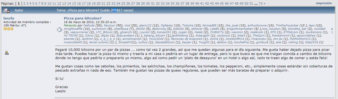 Publicación realizada por Laszlo para la compra de 2 pizzas por 10.000 BTC. Fuente: Bitcointalk