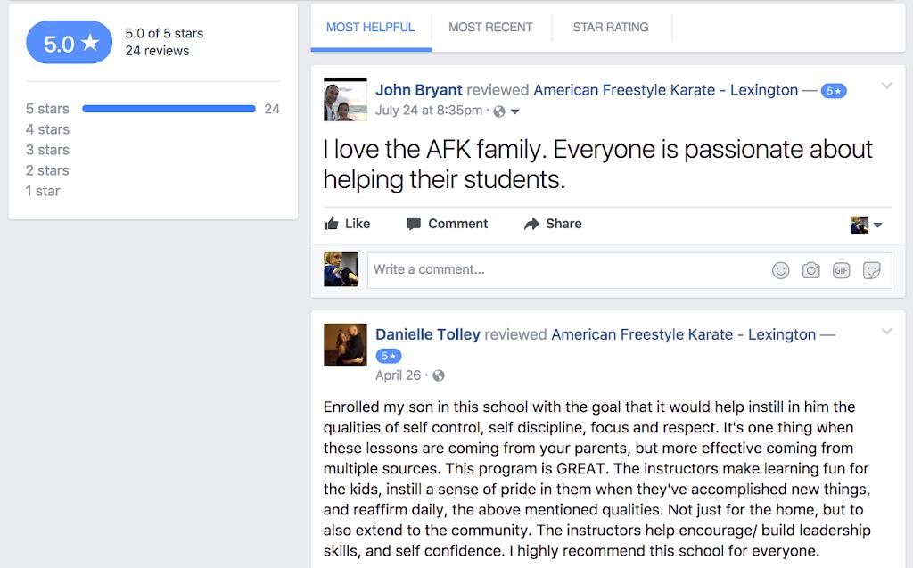 5 star FB reviews for Kids Martial Arts