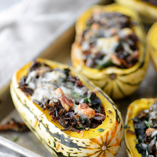 Wild Rice and Kale Stuffed Delicata Squash.