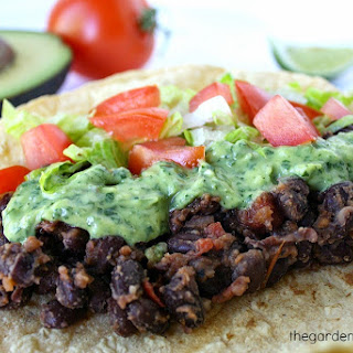 Black Bean Tacos with Avocado Cilantro-Lime Sauce