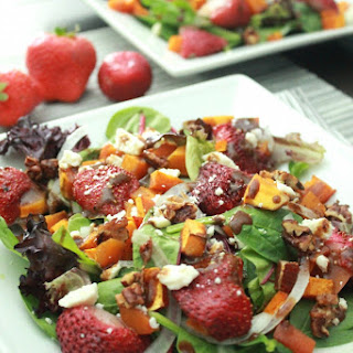 Roasted Butternut Squash and Strawberry Salad