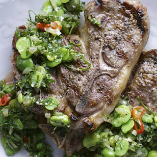 Grilled Lamb Chops with Fava Bean Vinaigrette.