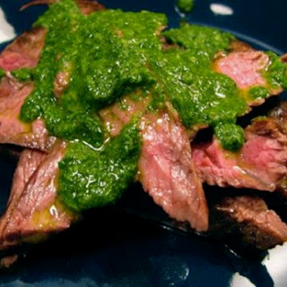 Skirt Steak with Cilantro Garlic Sauce.