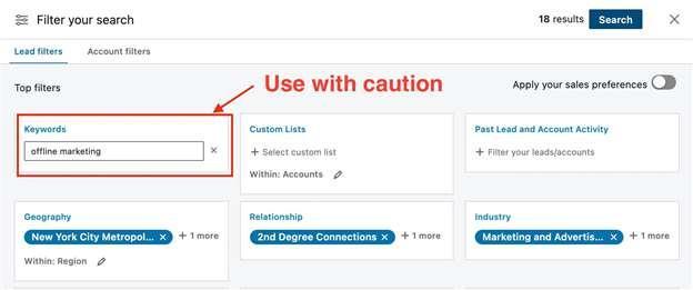 keyword search sales navigator