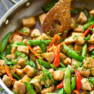 Chicken Snap Pea Stir-Fry with Sweet Peppers + Ginger Recipe