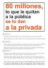 """Photo: 80 millones, lo que le quitan a la pública se lo dan a la privada ¿Qué prefieres? A. Cambiar TODAS las papeleras de la ciudad de Madrid (coste: 76 millones de €) B. Que 3.300 profesores sigan trabajando en la educación pública (coste: 80 millones de €)  A. Ver publicidad institucional todos los días para informarnos que """"El metro de Madrid vuela"""" y que el agua del grifo es del Canal de Isabel II (coste: 110 millones de €) B. Mantener una red de educación pública que pueda dar a TODOS la oportunidad de prepararse y llegar hasta donde quieran (coste: 80 millones de €)  A. Destinar dinero público a los que más lo necesitan (aulas de compensación educativa, desdobles, refuerzos, tutorías semanales ...) (coste: 80 millones de €) B. Destinar dinero público a los que más tienen (desgravación fiscal para las familias que llevan a sus hijos a colegios PRIVADOS) (coste: 90 millones de €) ¿De verdad crees que quitan recursos a la escuela pública para ahorrar dinero? LA EDUCACIÓN PÚBLICA ES UN DERECHO, NO UN NEGOCIO"""