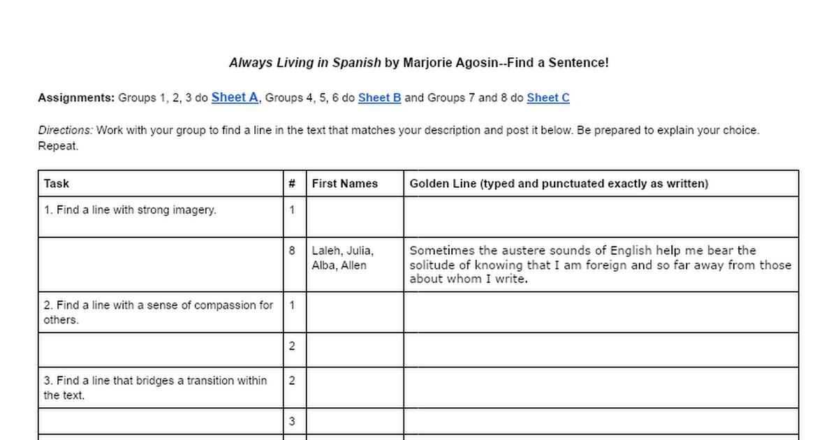 Always Living In Spanish -- Find a Sentence! Sheet C E - Google Docs