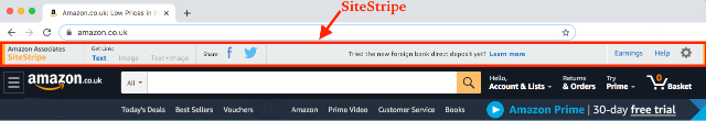 A screenshot of the SiteStripe toolbar.