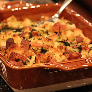 Kale, Leek and Bacon Bread Pudding