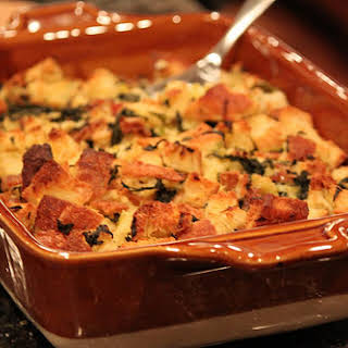 Kale, Leek and Bacon Bread Pudding.