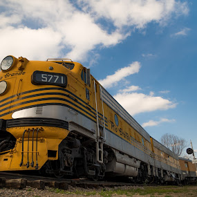 Rio Grande by Logan Knowles - Transportation Trains ( leading lines, sky, train, transportation, yellow )