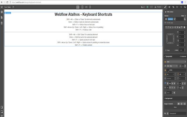 Webflow Keyboard Shortcuts