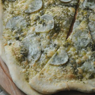 Homemade Thin Crust Pizza + Pesto + Potato