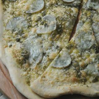 Homemade Thin Crust Pizza + Pesto + Potato