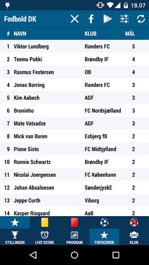 Fodbold DK- screenshot