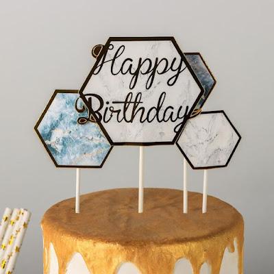 Набор топперов «С днём рождения. Призма», 4 шт, 21×11,5 см