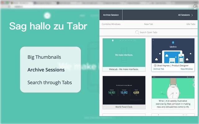 Tabr   Chrome-Registerkarten-Manager und Speicherplatz-Speicher Screenshot